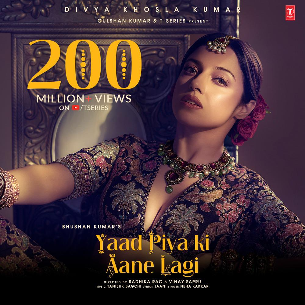 Divya Khosla Kumar's Yaad Piya Ki Aane Lagi crosses 200 million views on YouTube!