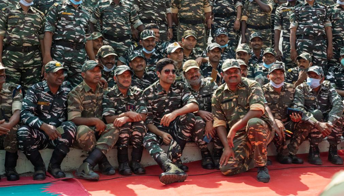 On screen Major Sandeep Unnikrishnan- Adivi Sesh celebrates Republic Day with CRPF Jawans
